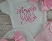 Coming home outfit, baby girl, newborn girl, custom, embroidered, Name, pink, bow, hat, monogram, bring home, hospital, photo prop, set
