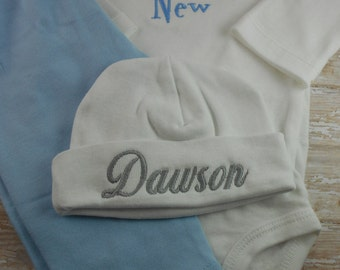 Baby boy hat, baby's first hat, Newborn Hospital hat, newborn hat, Personalized, Monogram, Name, baby hat, photo prop, baby shower gift