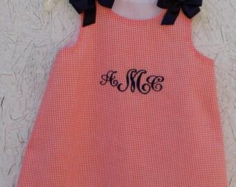 orange gingham navy monogramed dress navy bows lined