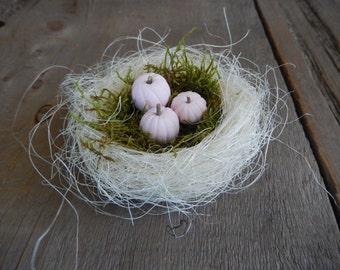 Pink Pumpkin Nest Romantic French Inspired Shabby Rustic OOAK Handmade Farmhouse Decor AMarigoldLife