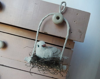 French Nesting Bird Swing Mixed Media Handmade Art Paris Inspired Wire Mache Ornament