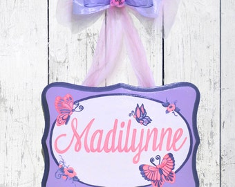Personalized Hand Painted Butterfly Girls Name Sign