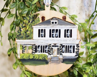Custom Home Ornament Wood Burned, Hand Painted