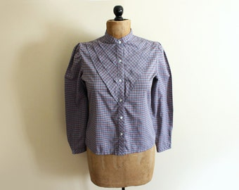 vintage blouse 70s plaid shirt 1970s grey purple pintuck womens clothing size medium m