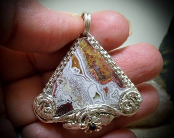 Silver Mexican Crazy Lace Agate Wire Wrapped Gemstone Pendant