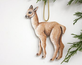 Baby Alpaca Ornament - Handmade Hand Painted Wooden Alpaca Christmas Ornament - Holiday Home Decoration