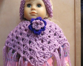 American Girl 18 Inch Doll Lavender and Purple Poncho and headband set
