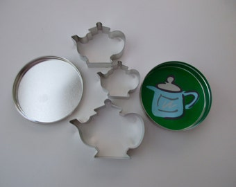 collection of 3 COOKIE CUTTERS - teapots