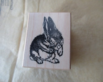 PSX D-1269 rubber stamp mounted on wood - rabbit, bunny, Easter, spring