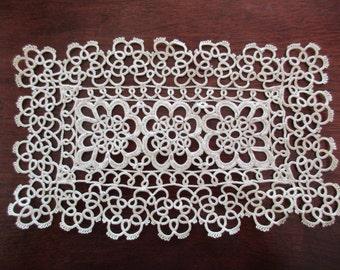 beige cotton retangular lace doily- tatted