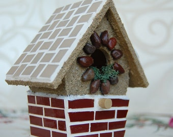Bird House Mosaic Stained Glass and Stone Ornamental