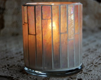 Iridescent  Stained Glass Mosaic Votive Candle Holder