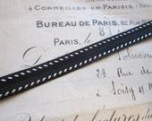 10 yards vintage trim - 3/8 inch black braid with white stitching - poly/rayon blend - 9mm