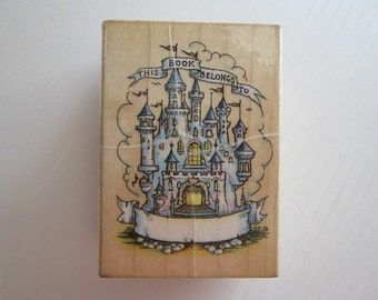 rubber stamp - CASTLE BOOKPLATE - used stamp, All Night Media - this book belongs too, fantasy castle stamp