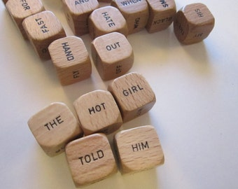 21 vintage wooden WORD dice -  game pieces