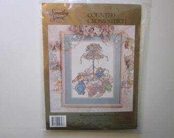 counted cross stitch kit - MAYPOLE BUNNIES Picture - Something special, unopened - circa 1992 - kit 50718