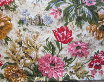 vintage fabric - House N Home Draperies, Inc screenprint - large floral with houses - 35 x 48 inches