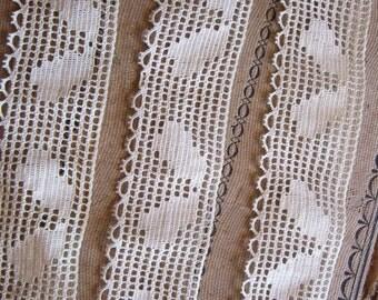 vintage lace trim - 60 inches x 1.5 inches - filet lace trim