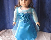 Frozen inspired costume to fit 18 inch dolls such as American Girl