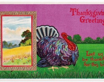 Glossy Thanksgiving Greetings Antique Postcard - Thanksgiving, Turkeys, Harvest, Autumn, Fall, Paper, Ephemera, Purple
