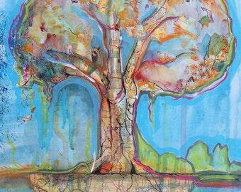 Tree of Life 11x14 mixed media on canvas maps tree acrylic paint ink