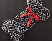 Black/White/Red Dog Bone Shape Cotton and Fleece Christmas Stocking