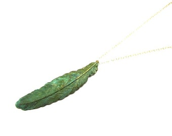 Simple Verdigris Feather Necklace in Gold-Long for Layering