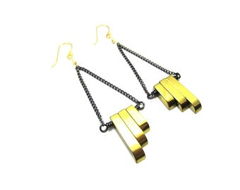Gold Hematite Asymmetrical Earring- Art Deco