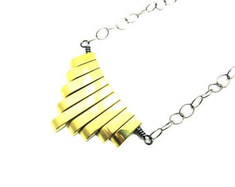 Gold Hematite Necklace with Black Chain-Art Deco