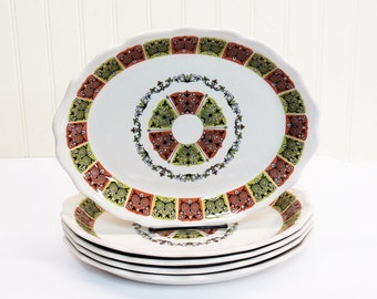 "Syracuse China Restaurant Ware 11.5"" Oval Dinner Plates Coral n' Jade Pattern 1968 Set of 5"