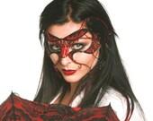 Red cyber goth masquerade mask, Masked ball mask, Masquerade ball mask, Womens mask, Gothic mask, Red mask, Black mask, Halloween mask
