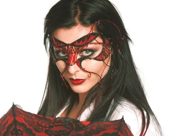 Red cyber goth masquerade mask, Masked ball mask, Masquerade ball mask, Womens mask, Gothic mask, Red mask, Black mask, Halloween mask