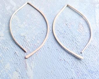 Minimalist Earrings - gold open hoop earrings in almond shape (Medium) - gold earrings, threader earrings, minimalist jewelry,
