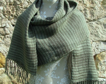 Handwoven Linen Flax  Olive Green and Dark Brown Striped Scarf (Shawl)- Pure Linen