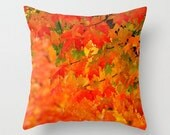 Orange Fall Leaves Throw Pillow, Red Autumn Pillow Cover, Vibrant Autumn Cushion Cover, Orange Bokeh Photo Print, Vivid Fall Colorful Trees