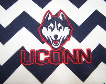 University of Connecticut (UConn) Navy and White Chevron Infinity Scarf