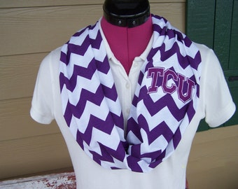 TCU(Texas Christian University) Purple and White Monogrammed Chevron Infinity Scarf Knit Jersey