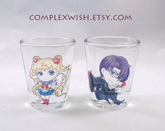 Sailormoon Tuxedo Mask clear shot glass - 1.5oz
