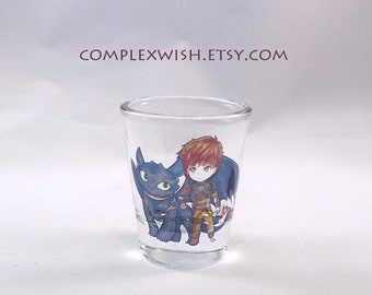 toothless and hiccup clear shot glass - 1.5oz
