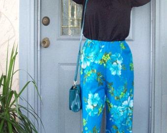 Vintage Tropical Blue Silky Pants - Hawaiian print - beach blue flowers - Vintage silky slacks - TALL Medium / Large - Free Ship - Princess