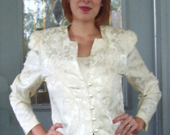 Fancy Brocade Jacket from 1980s - Vintage Bridal Jacket - Ivory Blazer - Winter White - Wedding Jacket - Special Occasion Jeffrey and Dara