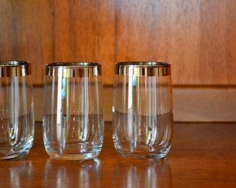 vintage mad men chic silver rimmed whiskey glasses / mid century modern / modern barware / silver rim cocktail set