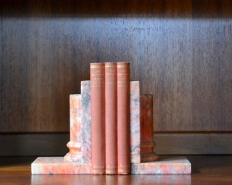 vintage mid-century italian pink alabaster bookends