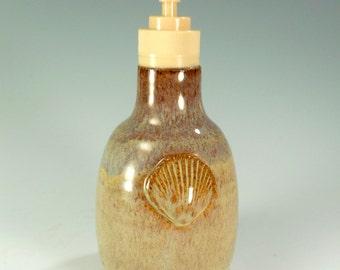 Ceramic soap dispenser and lidded jar, pottery soap pump, stoneware sugar bowl, ceramic lotion pump, liquid soap pump with shell detail