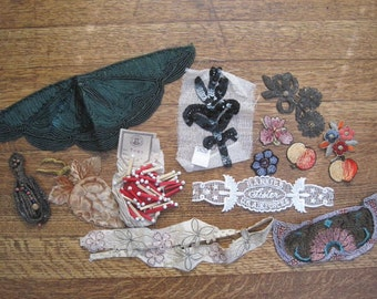 Vintage Lot of Appliques Sew Ons Trim Edging Embellishment