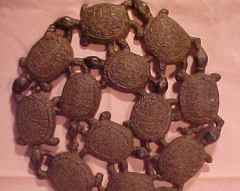 "Vintage Cast Iron Ring of Turtles 10"" Hot Plate Trivet or Wall Hanging"