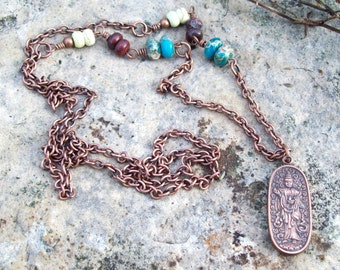 Antique Copper Necklace with Ethnic Asian Quan Yin Chinese Buddhist Goddess of Compassion Metal Amulet, beaded gemstone chain