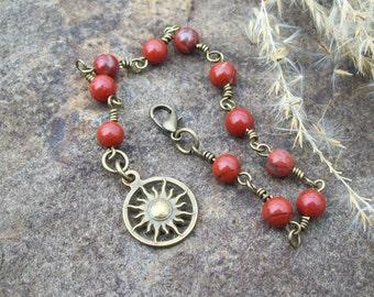 Red Jasper gemstone beaded chain bracelet with Bronze Sun charm, Hippie Bohemian jewelry