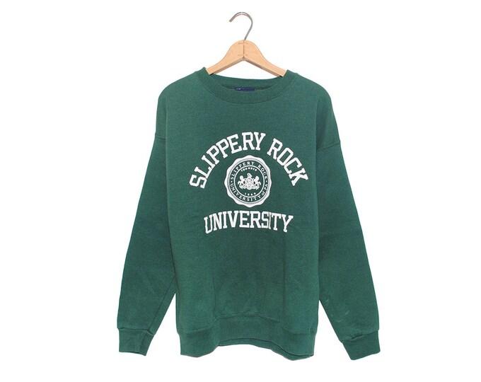Vintage Hunter Green Slippery Rock University of Pennsylvania Jansport Sweatshirt Made in USA - Large (OS-SS-2)