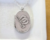 Antique 1901 Sterling Silver Locket Necklace, Oval Shaped UK Polo Photo Pendant - Horseshoe and Mallet